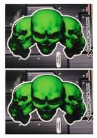 5 Skull Green 3D Gel Decal Sticker set