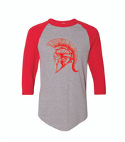 Youth and Adult 3/4 Shirt Red/Gray 50% Cotton 50% Polyester