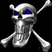 Digital Chrome Skull and Crossbones Blue