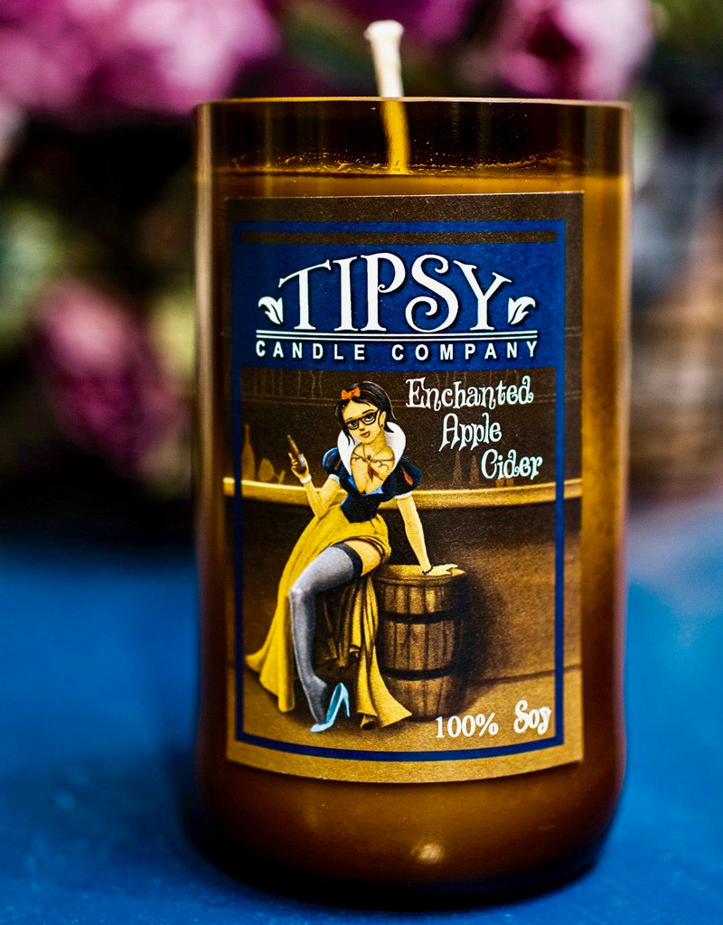 Fragrances notes:  Ripe Macintosh apples and a dab of cotton blossom.  Tipsy Candles is set in a hand-smoothed recycled wine bottle and is part of a green initiative dedicated to environmental responsibility, freshness, and quality