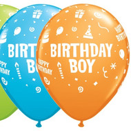 Birthday Party Boy Assorted Latex Balloons (6)