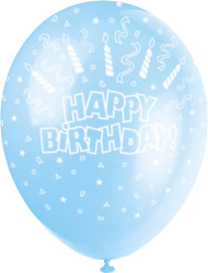 Happy Birthday Candle And Swirls Blue Latex Balloons (5)