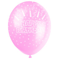 Happy Birthday Candle And Swirls Pink Latex Balloons (5)