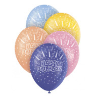 Happy Birthday Candle And Swirls Assorted Latex Balloons (5)