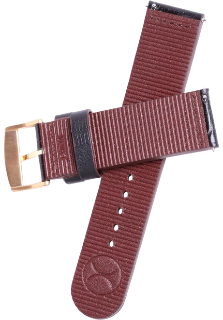 Xeric 22mm Black Croc Leather Strap with Rose Gold Buckle (HLG-3018-STRAP)