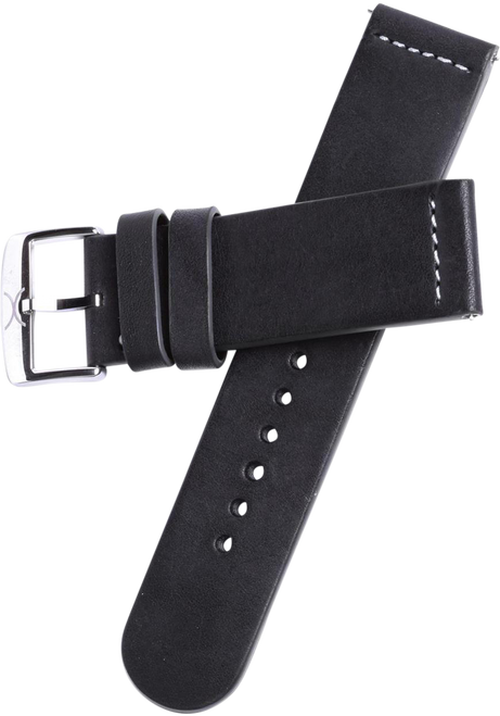 Xeric 22mm Smooth Black Leather Strap with Green Backing (HLG-3014-STRAP)