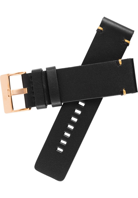 Xeric 24mm Smooth Black/Rose Gold Leather Strap (XRC-XS2-24-BKRG)