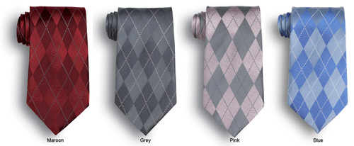 Four colors of argyle petterned ties