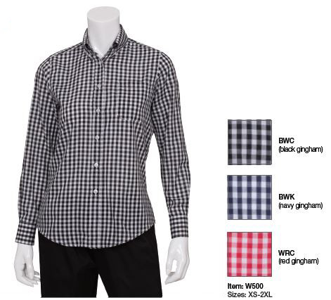Gingham checkered uniform shirt