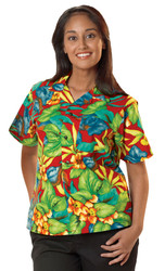 Traditional hawaiian print camp shirt