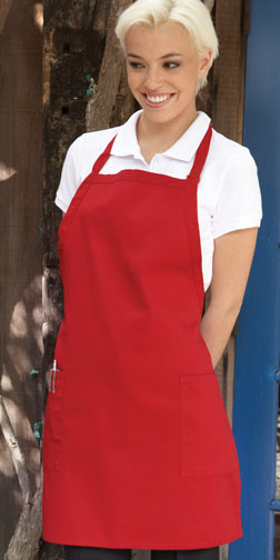 Bib apron with pockets on the front