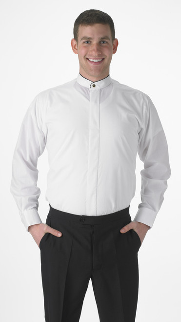 Banded Collar Dress Shirt With Black Piping