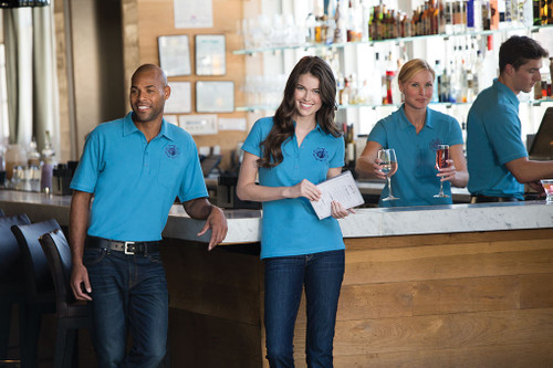 Stain resistant polo is perfect for waitstaff