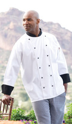 Double rows of black buttons and black cuffs/collar make this chef coat different but still classic