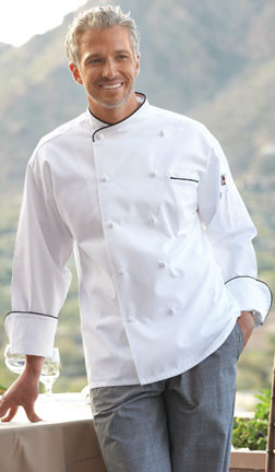 Black piping on this chef coat adds some simple decoration