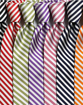 Vivid striped ties in stain resistant polyester or silk!