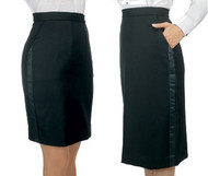 Above or below the knee tuxedo skirt