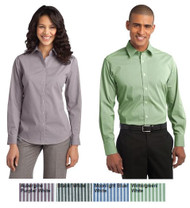 Button up striped uniform shirt for men and women