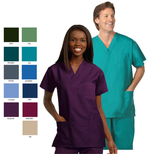Scrub shirt with three separate pockets