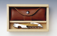Olive wood handled corkscrew with box and pouch