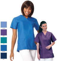 Women's medical scrub top with two lower pockets