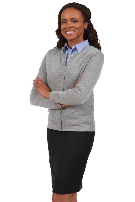 Grey Heather Ladies Drop Neck Acrylic Cardigan.