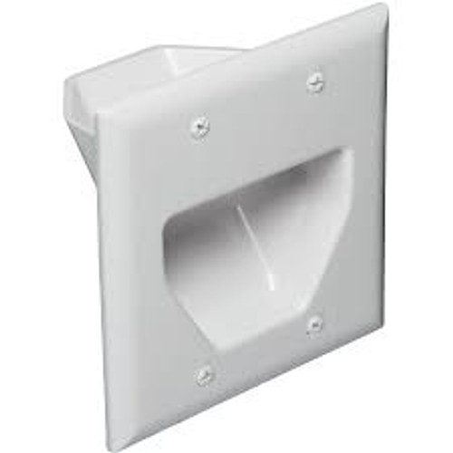 2-Gang Recessed Low Voltage CablePlate