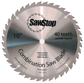 """SawStop Steel 10"""" Combination Blade - 40 Tooth, ATB, Carbide Tipped"""