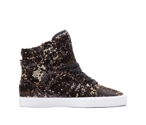 Women s Supra Shoes Skytop Black Gold White - TGM Skateboards 0592fb5b6d