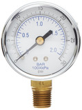 Gast AA644B Pressure Gauge 2 Inch Dial 0-30 PSI 1/4 NPT Bottom Mount