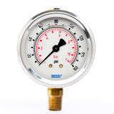 "Wika 9692024 Industrial Liquid-filled Gauge Model 213.53 2-1/2 Dial 160 PSI/BAR 1/4""NPT Lower Mount Stainless Steel Case"