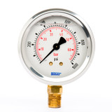 "Wika 9692075 Industrial Liquid-filled Gauge Model 213.53 2-1/2 Dial 1000 PSI/BAR 1/4""NPT Lower Mount Stainless Steel Case"