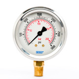 "Wika 9692105 Industrial Liquid-filled Gauge Model 213.53 2-1/2 Dial 3000 PSI/BAR 1/4""NPT Lower Mount Stainless Steel Case"