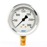 "Wika 9767150 Industrial Liquid-filled Gauge Model 213.53 2-1/2 Dial 3000 PSI 1/4""NPT Lower Mount Stainless Steel Case"