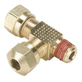Parker VS271NTA-6-6 Air Brake Compression Male Run Tee 3/8 Tube OD X 3/8 NPTF X 3/8 Tube OD Brass