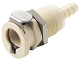 Colder PLCD1600412 Valved Panel Mount Coupling Body 1/4 Hose Barb 120 PSI Polypropylene Almond