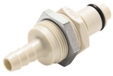 Colder PLCD4200412 Valved Panel Mount Coupling Insert 1/4 Hose Barb 120 PSI Polypropylene Almond
