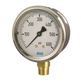 Wika 50167995 Industrial Liquid-filled Gauge Model 213.53 2-1/2 Dial 60 PSI/BAR G1/4B Lower Mount Stainless Steel Case