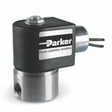 Parker Skinner 71215SN2VN00N0C111C2 2-way Normally Closed Solenoid Valve 1/4 NPT 24VDC Stainless Steel