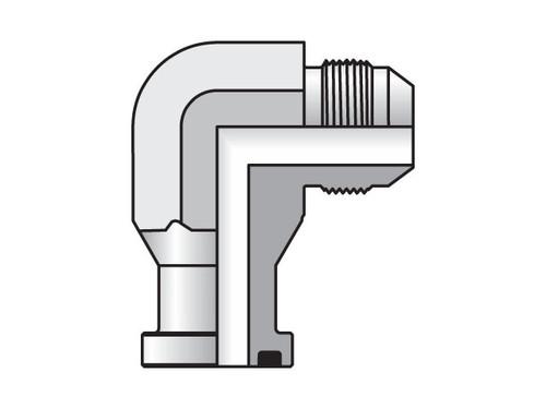Parker Triple-Lok 20 XEQ2-S Code 62 Flange 90° Elbow 1-1/4 JIC X 1-1/4 Flange Steel