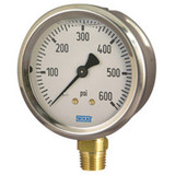 Wika 9693683 Industrial Liquid-filled Pressure Gauge Model 213.53 2-1/2 Dial -30INHG/MMHG VAC 1/4 NPT Lower Mount Stainless Steel Case