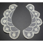 Collar Appliques Embroidered Natural L & R - 6 Pairs