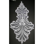 Bridal Applique WHITE Large Embroidered Sheer