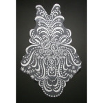 Bridal Applique WHITE Large Embroidered Sheer.