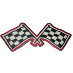 Iron On Patch Applique - Checkered Flag Large