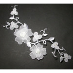 Iron On Patch Applique - Large White Bridal Flower Spray