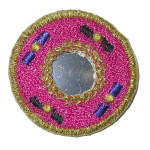 Iron On Patch Applique - Round Mirrored Cerise