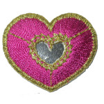 Iron On Patch Applique - Heart Mirrored Pink