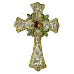 Iron On Patch Applique - Cross Metallic Gold with Gem Large