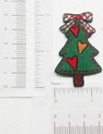 Iron On Patch Applique - Christmas Tree Rustic Heart